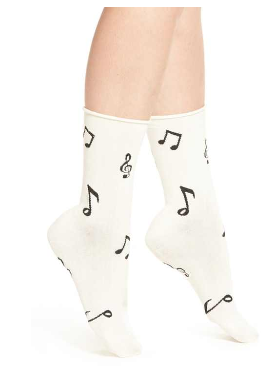 KATE SPADE NEW YORK MUSIC NOTE  PATTERN CREW SOCK