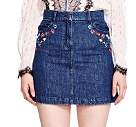 THE KOOPLES EMBROIDERED DENIM SKIRT