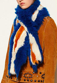 COACH STRIPE SHEARLING SHAWL