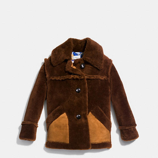 COACH SHEARLING COAT WITH PRINTED LINING