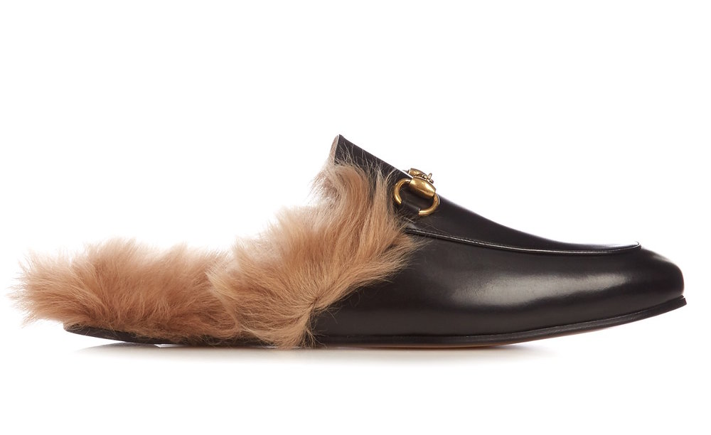 GUCCI PRINCETOWN FUR-LINED BACKLESS LOAFERS