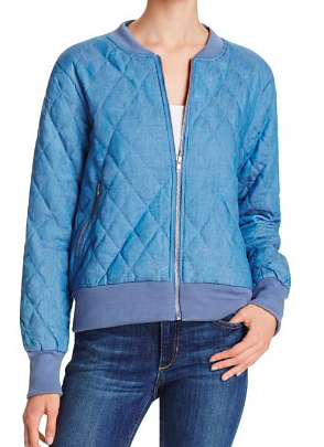 MINIPINK QUILTED DENIM BOMBER JACKET