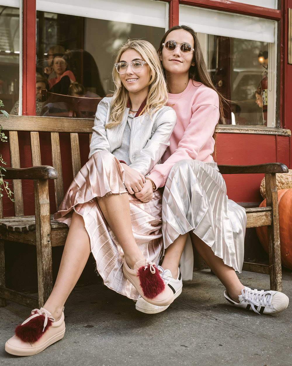 SOPHIE AND CHARLOTTE BICKLEY SISTER FASHION BLOGGERS YIN 2MY YANG PLEATED SKIRTS 7.JPG