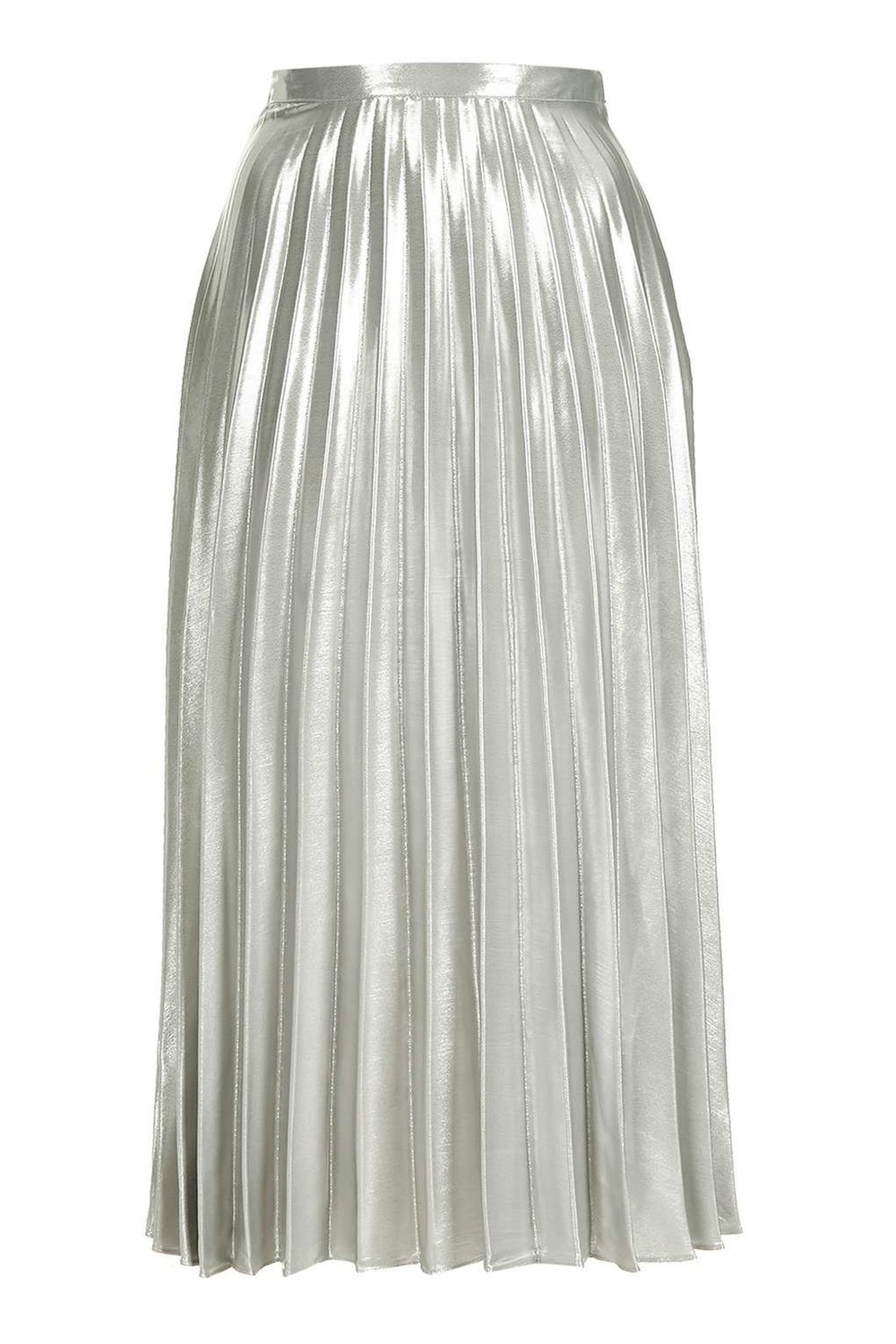 TOPSHOP METALLIC SILVER PLEATED SKIRT