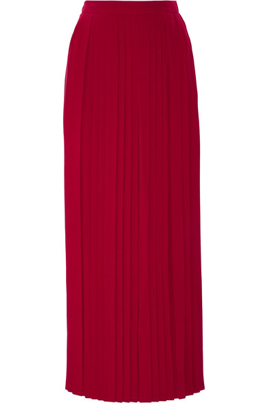 TORY BURCH 'ROWAN' PLEATED SILK CREPE SKIRT