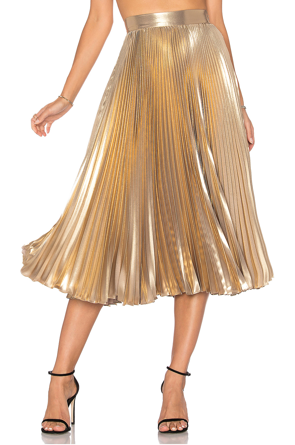 FRANKIE GOLD PLEATED SKIRT