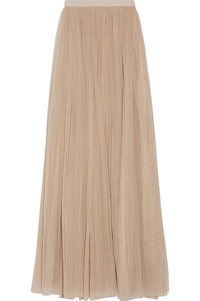 NEEDLE & THREAD TULLE MAXI PLEATED SKIRT