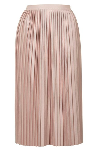 TOPSHOP PINK PLEATED MIDI SKIRT