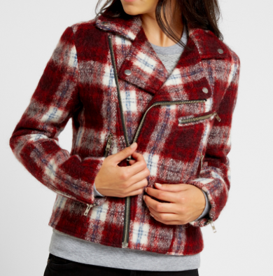 SLATE & STONE 'AVA' PLAID BIKER JACKET