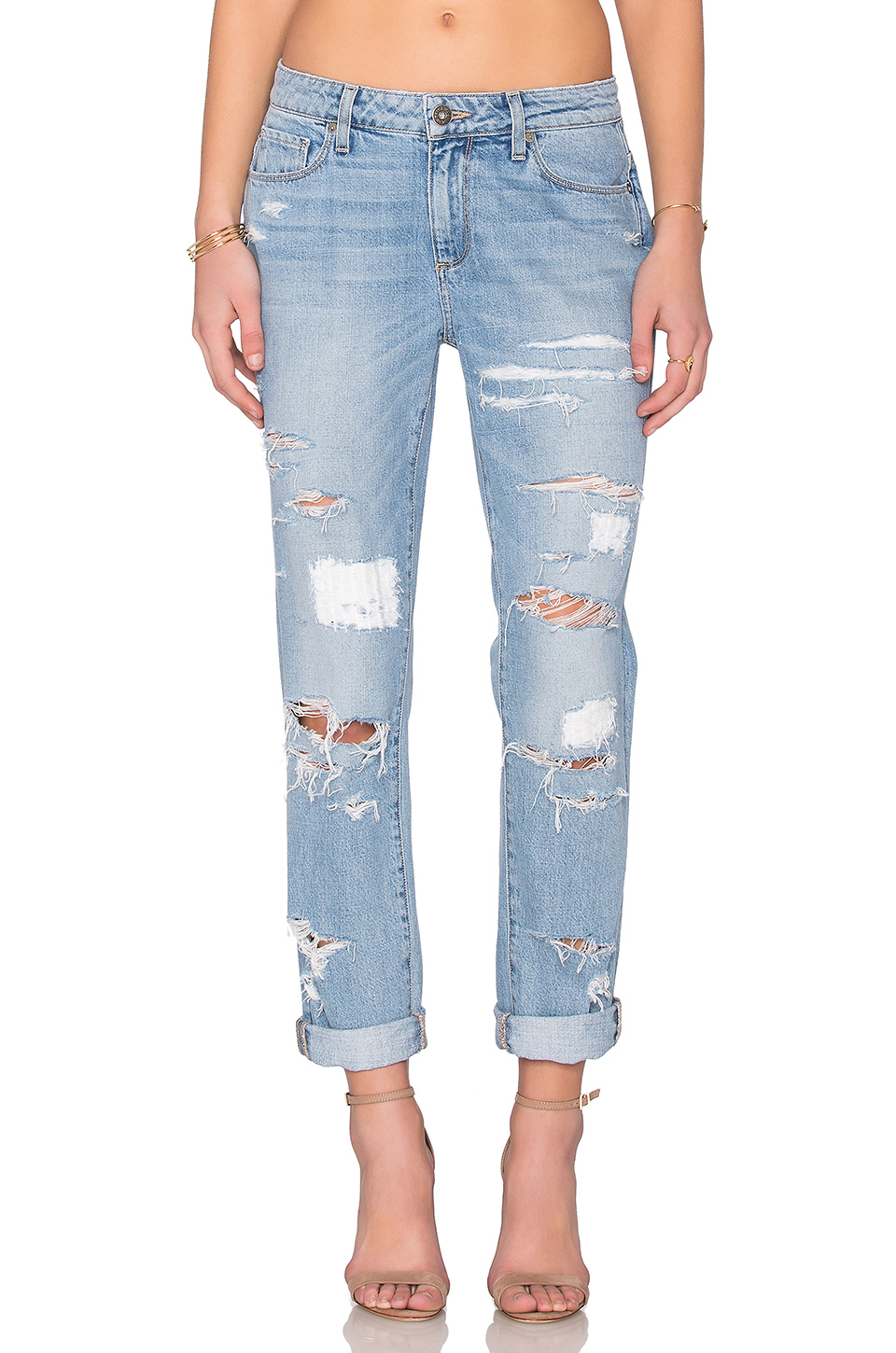 PAIGE DENIM JIMMY JIMMY RIPPED BOYFRIEND JEANS