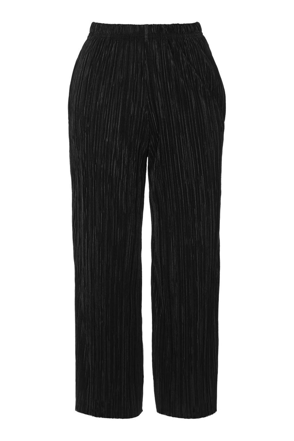 TOPSHOP VELVET BLACK TROUSERS