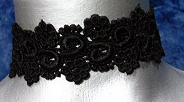 TWILIGHT'S FANCY BLACK FLORAL LACE CHOKER