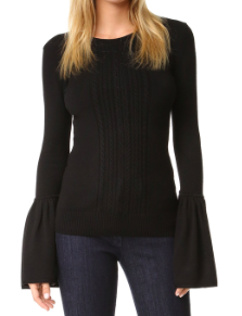 BCBGMAXAZRIA BLACK BELL SLEEVE SWEATER