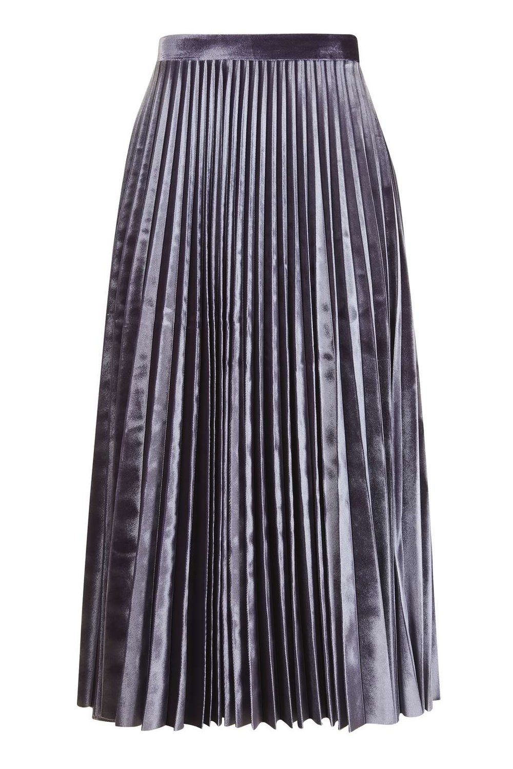 TOPSHOP VELVET PLEATED SKIRT