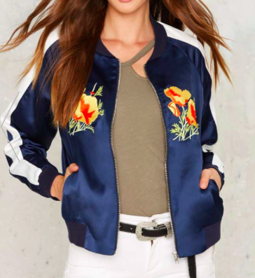 FACTORY FLORAL PATCHED BOMBER JACKET