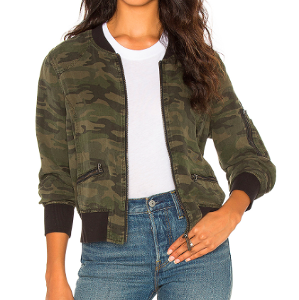 SANCTUARY ARMY PRINT BOMBER JACKET