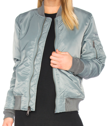 SCHOTT NYLON GREY BOMBER JACKET