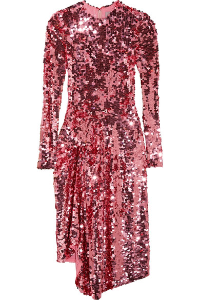PREEN BY THORNTON BREGAZZI PINK SEQUIN DRESS