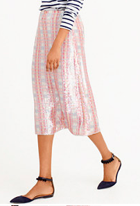 J.CREW PINK PATTERNED SEQUIN SKIRT