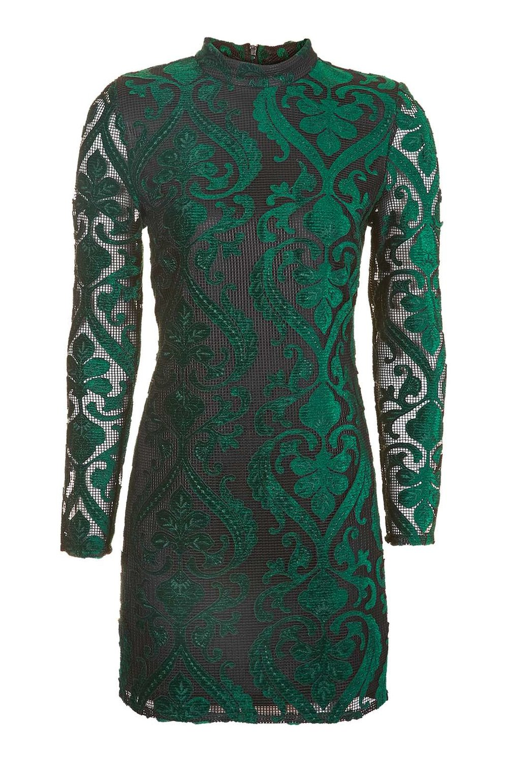 TOPSHOP GREEN VELVET FLOCK DRESS