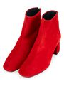 TOPSHOP RED FLARED HEEL BOOTS
