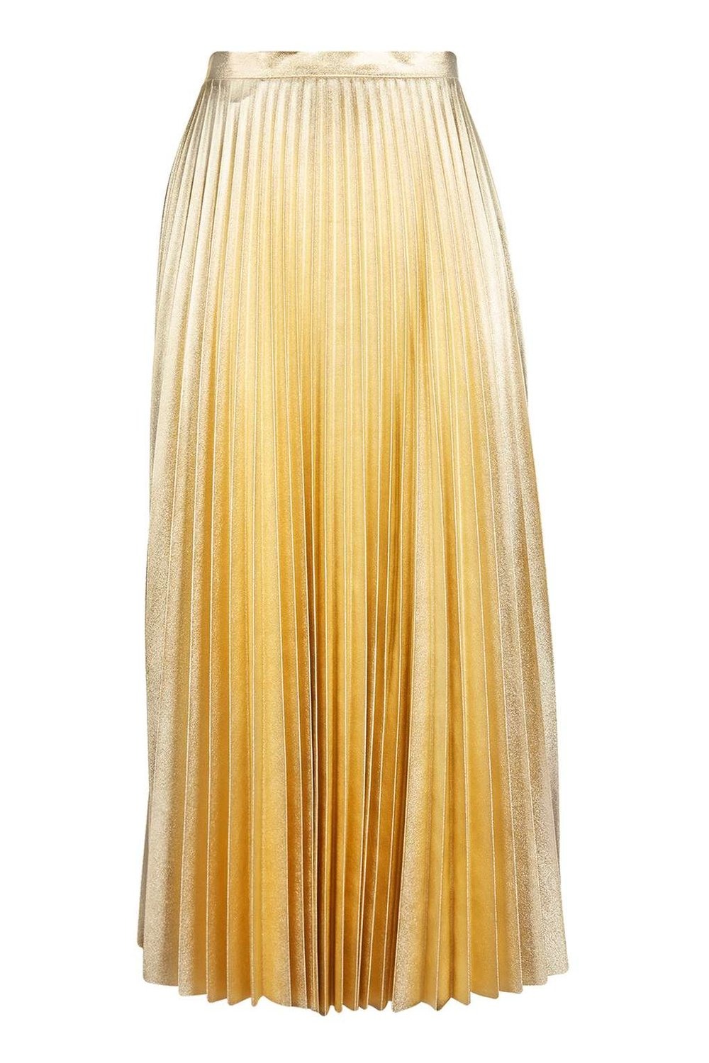 TOPSHOP GOLD METALLIC PLEAT SKIRT