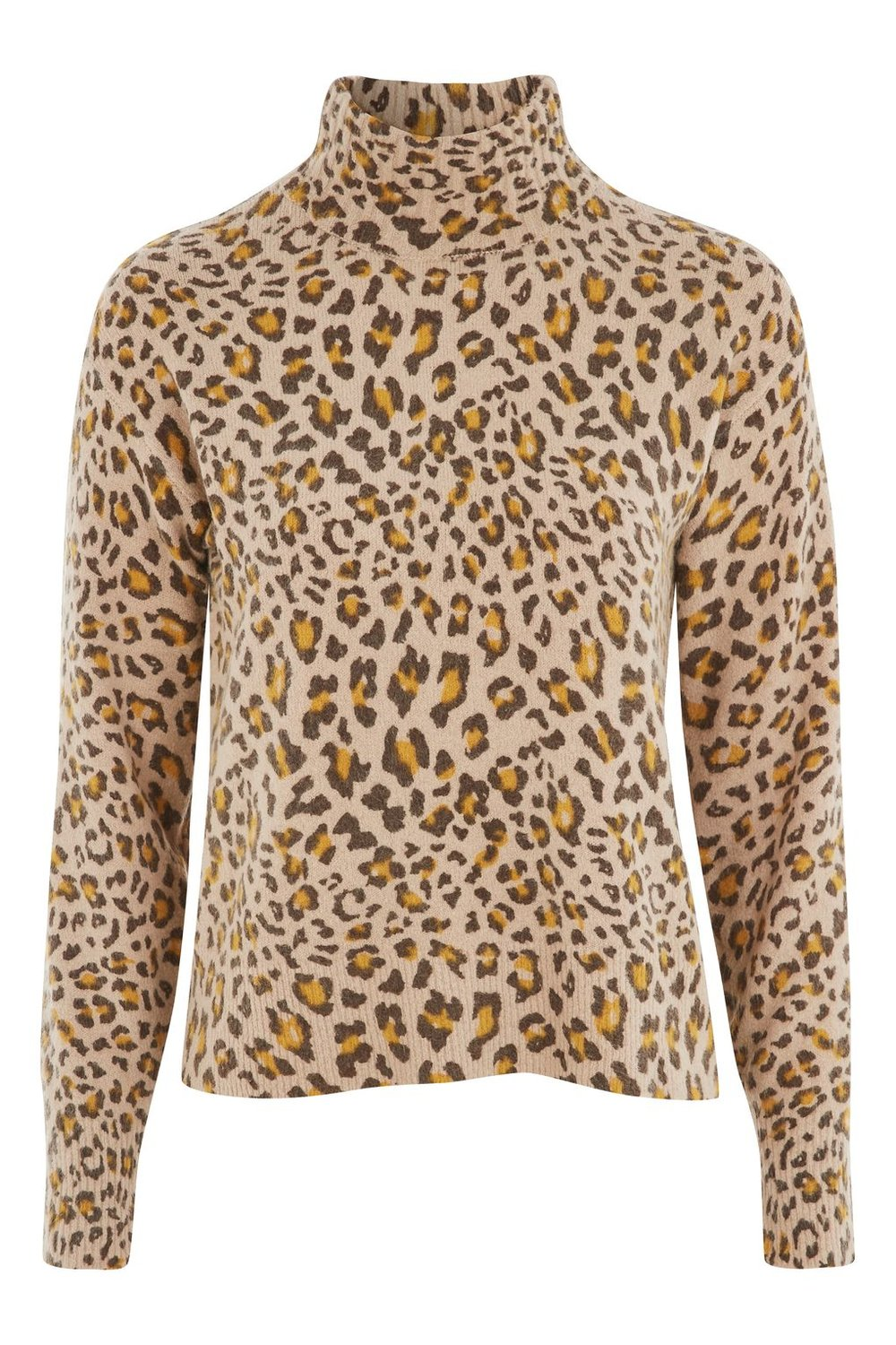 TOPSHOP LOFTY ANIMAL PRINT FUNNEL NECK JUMPER
