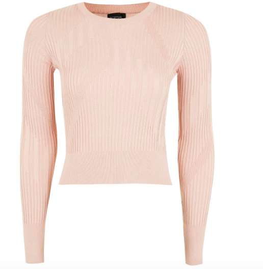 TOPSHOP VARIED RIB CROP TOP