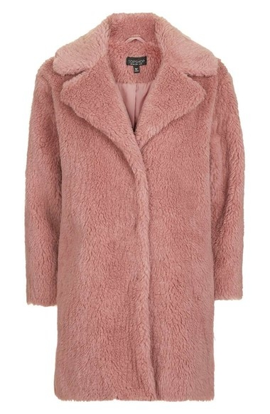 TOPSHOP FAUX FUR PINK COAT