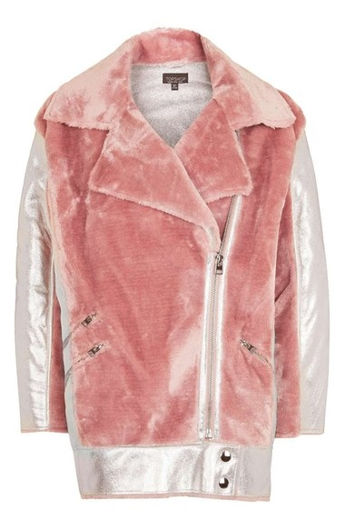 TOPSHOP METALLIC & FAUX FUR JACKET
