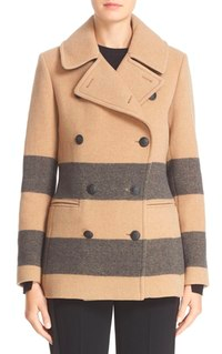 RAG & BONE 'SKYE' STRIPED WOOL BLEND PEACOAT