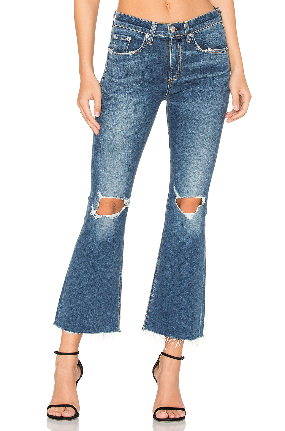 RAG & BONE DISTRESSED CROP FLARE JEANS