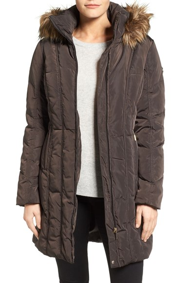 CALVIN KLEIN DOWN COAT WITH FAUX FUR TRIM