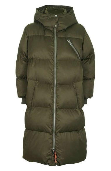 TOPSHOP 'THE GLOW WORM' PUFFER JACKET