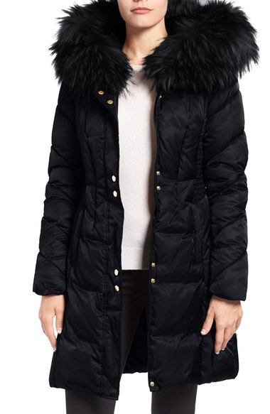 VIA SPIGA QUILTED PUFFER COAT WITH FAUX FUR TRIM