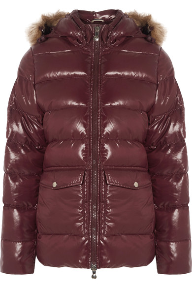 PYREXENEX FAUX FUR TRIMMED QUILTED GLOSS DOWN JACKET
