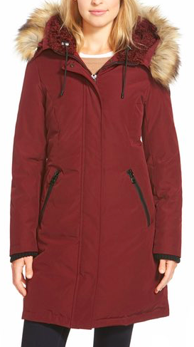 VINCE CAMUTO DOWN PARKA WITH FAUX FUR TRIM