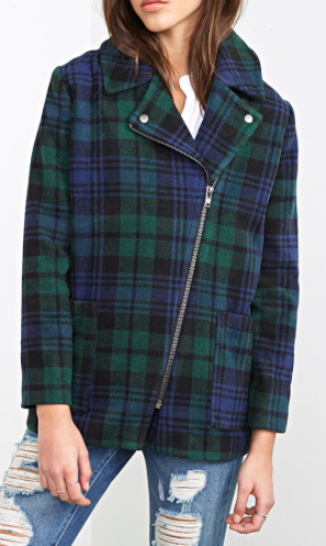 FOREVER 21 GREEN PLAID OVERCOAT