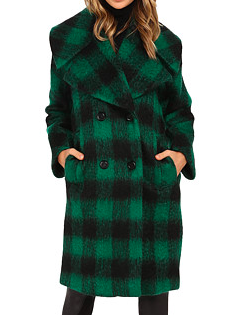 TRINA TURK 'NATTY' GREEN PLAID COAT