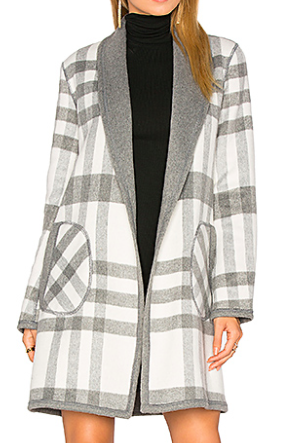MICHAEL STARS REVERSIBLE PLAID COAT