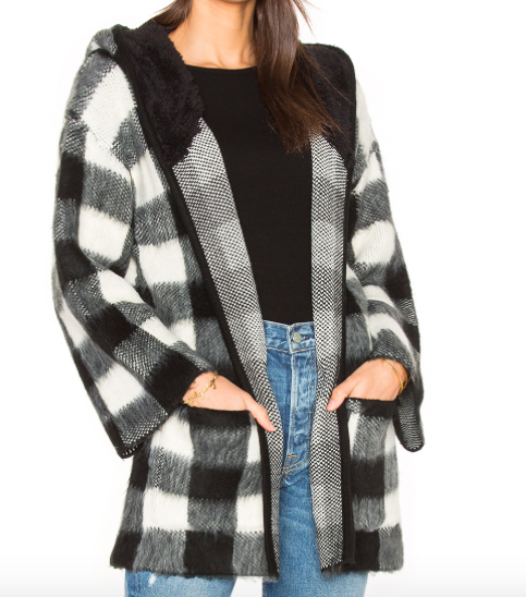 OBEY FAUX SHERPA 'FLYNT' PLAID WRAP
