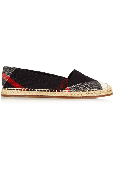 BURBERRY PLAID CANVAS ESPADRILLES