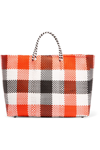 TRUSS PLAID WOVEN TOTE