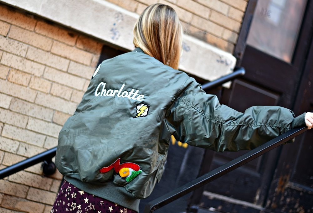 CHARLOTTE BICKLEY YIN 2MY YANG SISTER FASHION BLOGGERS NYC UNEMPLOYED DENIM PERSONALIZED BOMBER JACKET POST 1.jpg