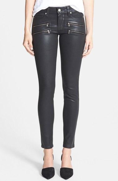 PAIGE 'EDGEMONT' BLACK COATED ZIPPER SKINNY JEANS