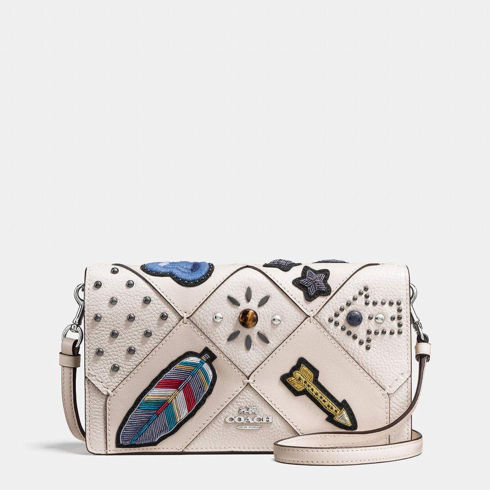 COACH FOLDOVER CROSSBODY EMBELLISHED LEATHER BAG