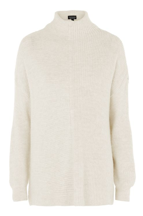 TOPSHOP VARIATED RIBBED KNIT TURTLENECK SWEATER