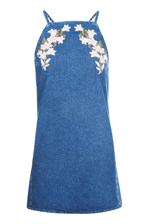 TOPSHOP MOTO EMBROIDERED PINAFORE DRESS