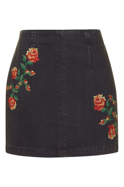 TOPSHOP MOTO A-LINE EMBROIDERED SKIRT