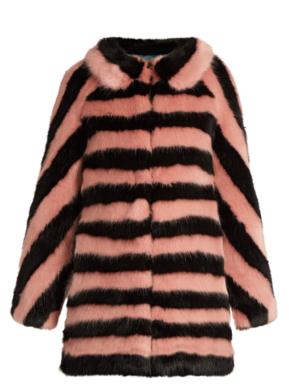 SHRIMPS JEAN STRIPED FAUX FUR COAT
